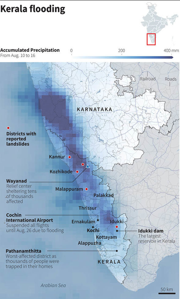 Kerla, India flooding Sources: Reuters; NASA; Sustainable Environment and Ecological Development Society