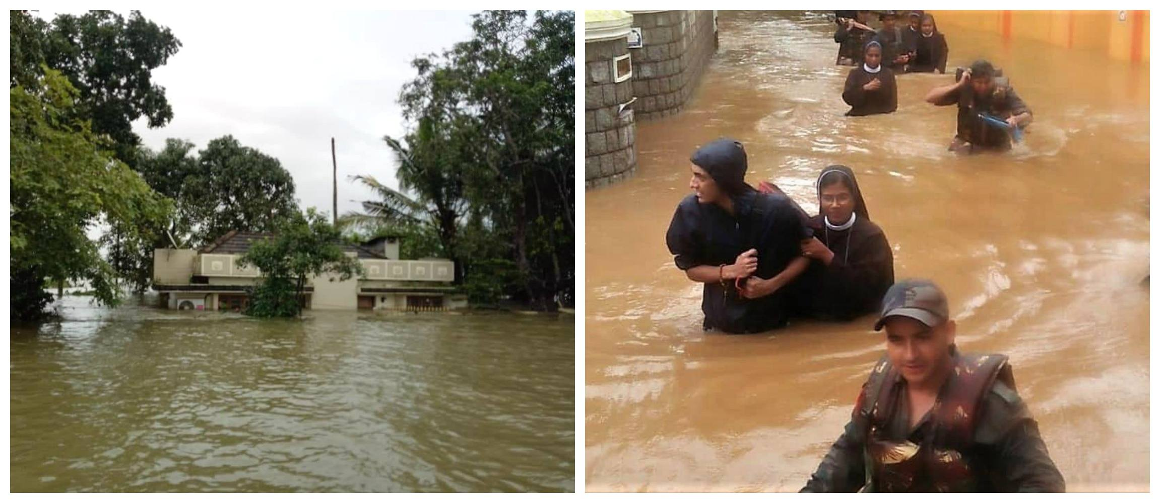 Photo of a building submerged in water in the floods of Kerala in India. Also, a sister is taken to safety.